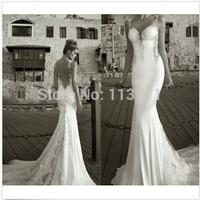 Dramatic Mermaid Sweetheart Spaghetti Straps Chiffon Sweep Train Lace Sexy Backless Wedding Bridal Dress