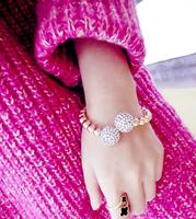 Big metal balls full of created diamond bracelets beaded stretch bracelet Bangles