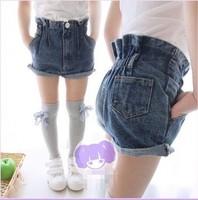 EMS DHL Free Shipping Todder Girls Denim Shorts Elastic Waistline Children Shorts Girls Trousers Children Clothing