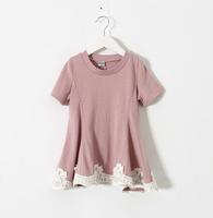 2015 Girls Cotton Lace Hem Dresses, Kids Soft Casual  Wear Dress 6 pcs/lot Yellow Purple Pink ,Wholesale