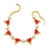 New Red Heart 2015ss early spring red gem love pearl necklace short