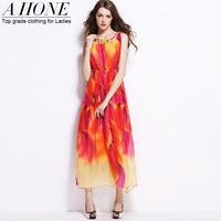 Twods 2015 new real silk long dress women summer breach long dress elastic slim waist bohemian high quality dresses
