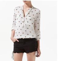 Chifon Shirt casual animal dog printed stand collar Ladies pocket Blouse Drop shipping