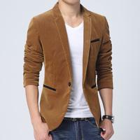 2015 spring Velveteen blazers Male Leisure suit jackets Mens slim casual suit coat jacket blazer fashion coat 3XL FreeShipping