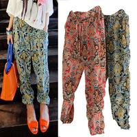 2015 New Women casual pants print loose drawstring elastic waist comfy full length chiffon harem pants beach trousers,SB507
