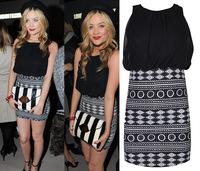 New Ladies' Fashion Dress stitching vest dress chiffon mini dress geometric totem print brand Elegance one piece dress A004