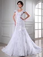 New Arrival!! 2015 New White Long Sexy Cap Sleeve Wedding Dresses Lace Vestidos De Noiva Chapel Train Bride Dress Bridal Gowns