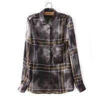 Fashiion 2015 New Women Vintage Cloud  Plaid Print Pocket Long Sleeve Lapel Blouse Blusa Blouses Ladies Casual Top