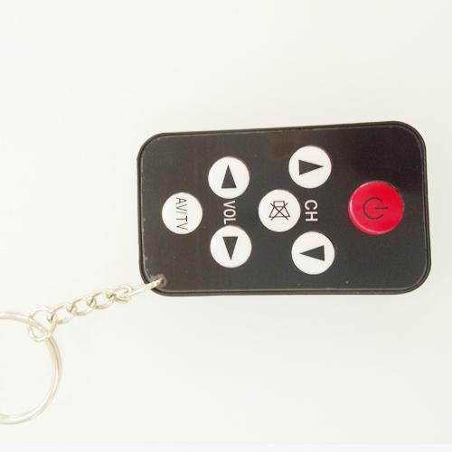 Free Shipping Universal Infrared IR Mini TV Set Remote Control Keychain Key Ring 7 Keys Black