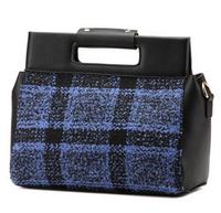 New Autumn and Winter Fashion Woolen Cloth Women Handbag Plaid Shoulder Cross Body Bag/Vintage Briefcase Free Shipping