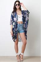 New Fashion Women's Vintage Flower Print Chiffon Blouse Shirt Women Loose Chiffon Kimono Cardigan Sun Protection yw15008