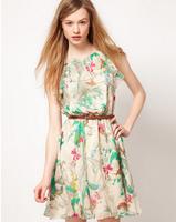 European  American floral sleeveless chiffon dress fashion dress send belt