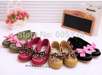 Hot sale 2015 1Pair Non-Slip Sole Cute Suede Children Kids Princess Girl Polka Dot Bow Shoes