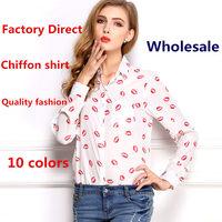 Free shipping new arrival women's loose printed chiffon shirt Lapel long-sleeved shirt