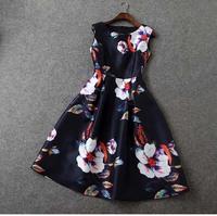 Europe Style 2015 New Brand Designer Women Fashion Summer Midi Dresses Vintage Floral Print Big Size Sleeveless Black Dresses