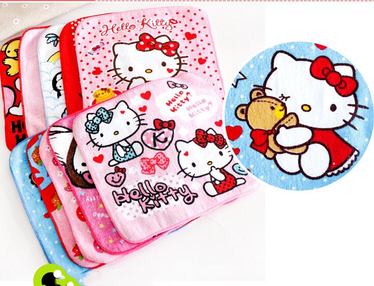 (50 Pcs/Lot) Good Quality Hello Kitty Multifunctional Use Baby Girl Towel Women Hand Towel Size 20*20CM(China (Mainland))