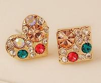 New Fashion Colorful Heart Earrings Love Square Earrings Rhinestone Earrings For Women