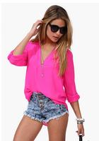 2015 spring summer new large size casual European American women half sleeve chiffon shirt