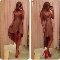 New Hot Sale European Fashion Solid Color Sexy Irregular Design Deep V Neck Sleeveless Women Dress Slim Chiffon Party Dress