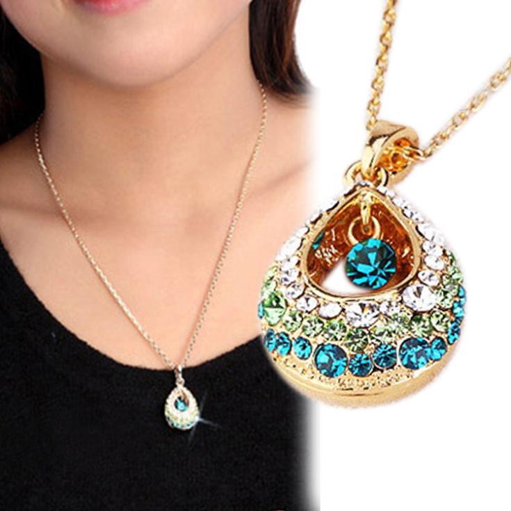 Fashion 1x Charm Multi-Colored Crystal Rhinestone Teardrop Shape Pendant Necklace Jewelry For Women NL-0518-BL\br(China (Mainland))