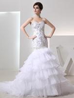 New Arrival!! 2015 New Long Mermaid Organza Wedding Dresses Fashionable Vestidos De Noiva Court Train Bride Dress Bridal Gowns