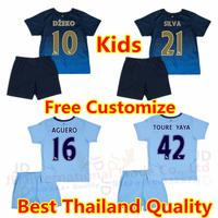Free shipping TOURE YAYA Manchester 2015 City Kids Kit 14 15 Youth Soccer Jersey KUN AGUERO Shirt KOMPANY SILVA Sets Home Away
