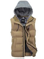 UDOD High Quality Winter Brand Mens Vest Jacket Male Casual Hooded Vest Coat Cotton Padded Vests Tops M L XL XXL XXXL EBMJ605