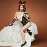 Hot winter underwear set transparent open file cutout lace rabbit lady sexy sleepwear female