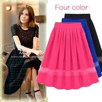 Women Summer Skirt 2015 Chiffon Saias Feminis Pleated Skirts Longa Patchwork Ladies Saia Plissada Black Fashion High Waist Skirt