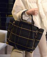 Big bags 2015 women's plaid canvas fashion handbag vintage one shoulder handbag color block check bag