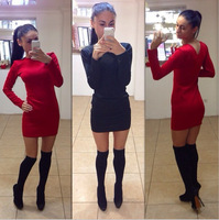 Autumn And Winter 2015 New Fashion Office Dress Casual Long Dresses Lace Dress O-Nec