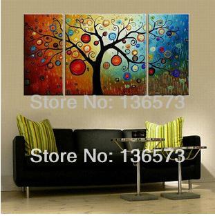 3 painel wall art Set pintados à mão dinheiro galho de árvore pintura a óleo sobre tela abstrata moderna Pictures Home decoração sem moldura(China (Mainland))