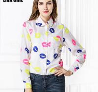 2015 Spring New style Lady shirt casual colors Lip prints Long sleeve chiffon women blouse