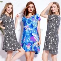 free shipping New Fashion 2015 Elegant Short Sleeve Knee length Cotton Casual Women  fashion loose sexy lady Dresses XXXL