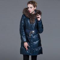 2014 Winter Thicken Warm Woman Down jackets Hooded Coats Parkas Outerweat Cold Long Black XL Slim Raccoon Fur collar 5XXXXXL