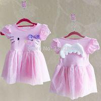 New Arival Cute Pretty Hello Kitty Angel Wings Girl Princess Dress