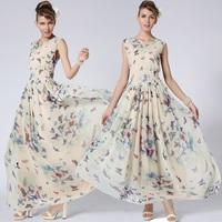 Dropshipping!2015 EUROPE Summer dress  Women Sleeveless Chiffon dress Fashion Iris japonica long dress