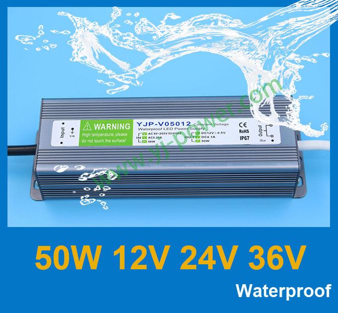 Адаптер YONGJIA POWER DC 24V 50W , IP67 , YJP-V05012,YJP-V05024,YJP-V05036,YJP-V05005