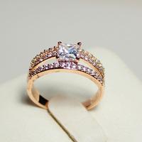 Princess Cut Fashion 18K Gold Plated Crystal Engagement Wedding Ring R63