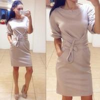 New European Fashion Round Collar Elegant Women's Candy Color Hot Sale Half Sleeve Dress with Belt Stylish Design Club Dress