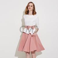 sundress 2015 New Fashion Contrast Color Patchwork Belt Dress women dress plus size adventure time dress chiffon Free Shipping