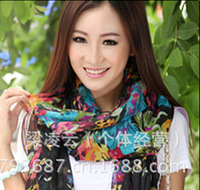 2pc Stylish flowers printing Bali Voile Scarves For Women&Girls