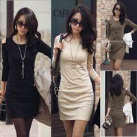 2015 sale new fashion spring winter women cotton black sheath long sleeve Cocktail mini casual warm women's vintage dress 460