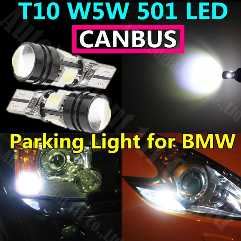 Car T10 Led 501 W5W White Canbus No Error Cree High Power Projector Lens Parking Light for BMW E30 E32 E36 E39 E46 E66 E85 2x(China (Mainland))