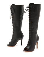 Lace up Leather women knee boots Sexy peep toe Gladiator high heel boots zipper boots on sale