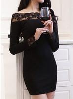 2015 New Fashion Sexy Slash Neck European Lace Splicing Knitted Women's Dress Solid Color Slim Sheath Long Sleeve Club Dress