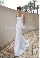 Modest Sweetheart Spaghetti Straps Sweep Train Lace Mermaid Backless Wedding Dress
