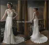 Vestido De Noiva Spring Fashion Elegant Satin Long Sleeves Crystals Wedding Dress 2015 Lace