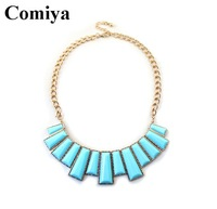 New design high quality statement blue acrylic stone decoration necklace necklaces & pendants sweater chain gold chain necklace