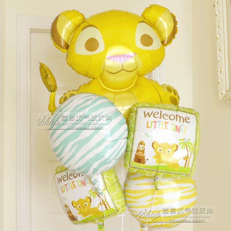 """Liitle rei leão 25 """" bebê recém-nascido celebração da festa de aniversário decoração kits 100 dias de banho menino folha de balões suprimentos(China (Mainland))"""